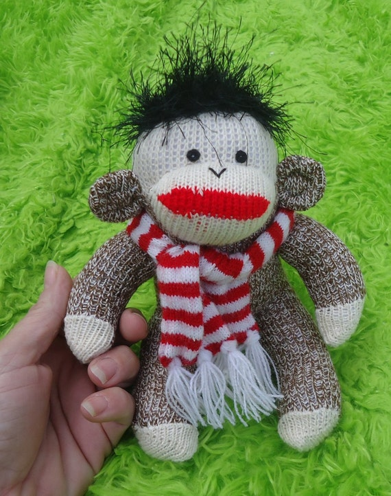 This is Dane, the amazing mini new small 8 inch handmade American Sock Monkey