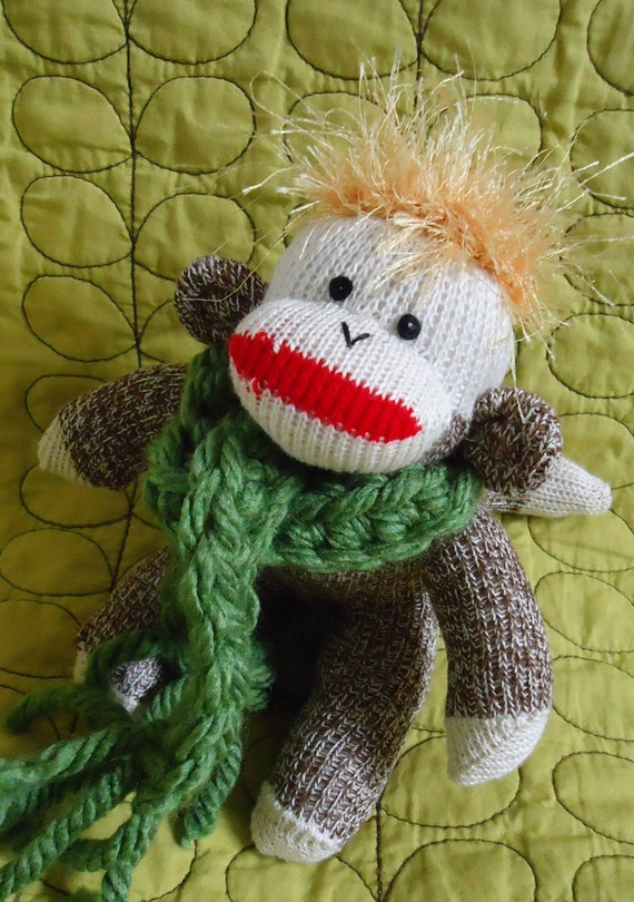 Sock monkey needs new home.  Please adopt Gamba, the mini new small 8 inch handmade American Sock Monkey