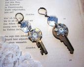 GoldiLocks - Vintage Upcycled Earrings - Vintage Keys and Chandelier Crystals