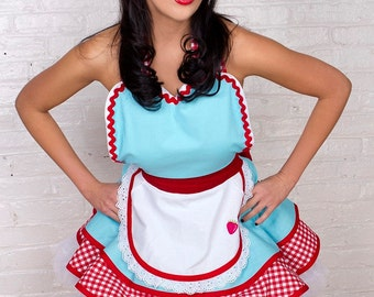 Dotties Diner Retro 50s Diner Waitress Apron Aqua and Red  Womens