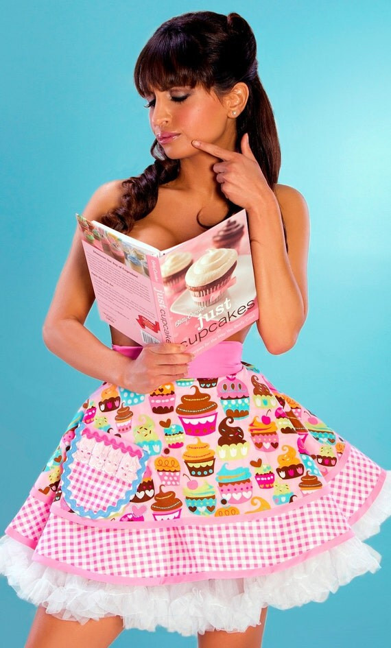Custom Order for RoseBonBon-  Lets Bake Cupcakes Apron in Sexy Pink - 4 aprons for her French Candy Spa