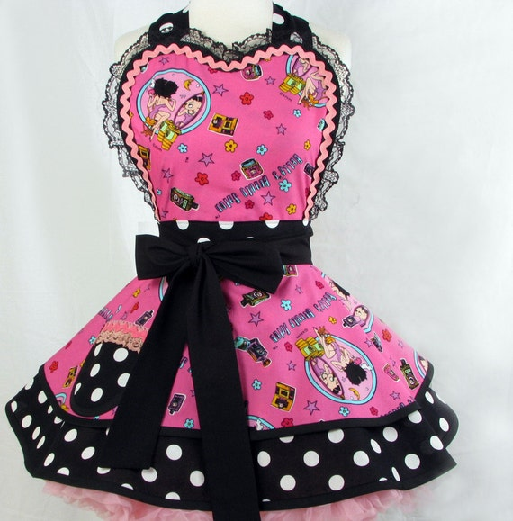 Betty Boop Hearts and Polka Dots Sexy Apron