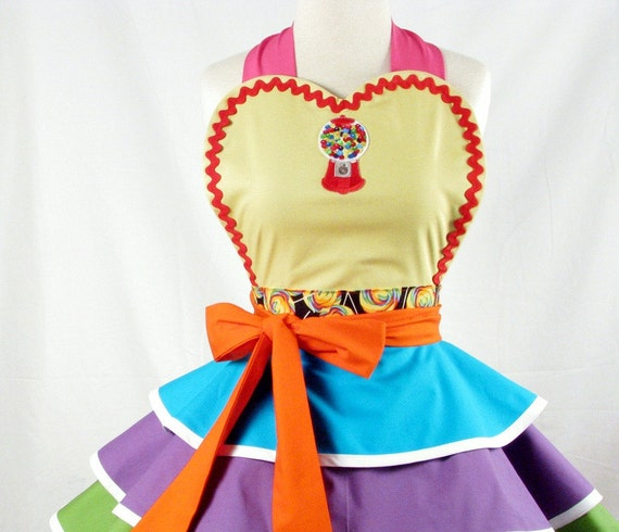 Jelly Bean Candy Store Counter Girl Apron - in stock - only one