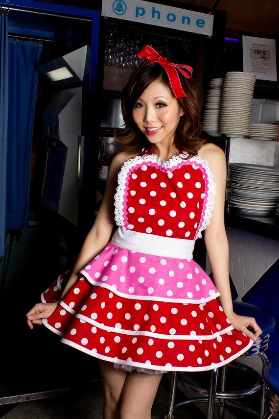 Valentine Cherry Bubblegum Apron for Pinup Girls by Dottie