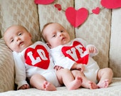 Valentine's Day LO-VE Twin Bodysuits Set, Great gift for Twins or siblings, the ORIGINAL lo-ve twin set