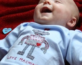 """Valentine's Day """"LOVE MACHINE"""" Bodysuit for Baby BOYS, perfect for 1st Valentine's Day Pics"""