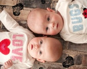 Valentine's Day Love Bugs TWIN Bodysuits Set , Featured in Pregnancy and Newborn magazine, Great Shower gift for TWINS or siblings