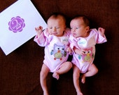"""Twin """"Who's Who"""" Owl Set of Bodysuits for Twin GIRLS, hand-sewn appliques"""