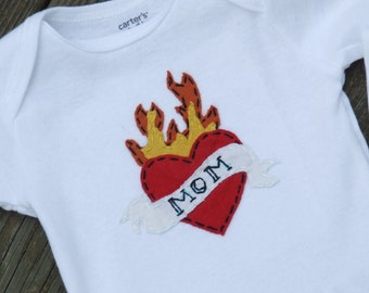 Tattoo Heart I LOVE MOM/DAD Baby bodysuit, great Father's day gift/Mother's Day gift