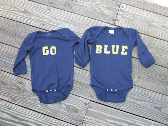 "Michigan Longsleeve ""Go Blue"" Twin(or siblings) Set of Bodysuits, Great Shower gift for Twins or siblings"