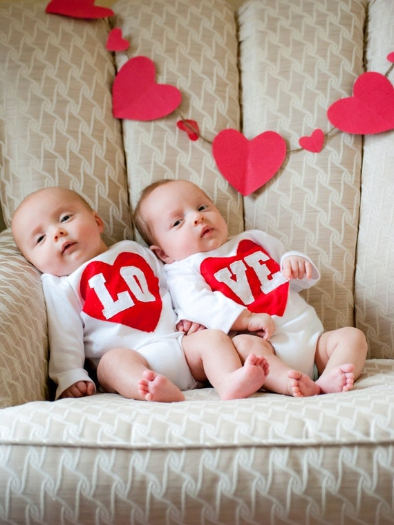 Valentine S Day Lo Ve Twin Bodysuits Set As Seen In