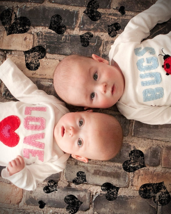 Valentine's Day Love Bugs TWIN Bodysuits Set , Great Shower gift for TWINS or siblings