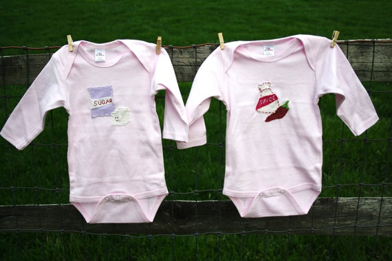 TWIN Sugar & Spice baby bodysuits for TWINS or SIBLINGS, Great shower gift for twin girls