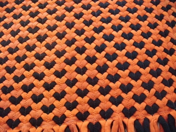 """SALE """"ready to ship"""" 22""""x32"""" orange with black bat rug made from recycled t-shirts"""