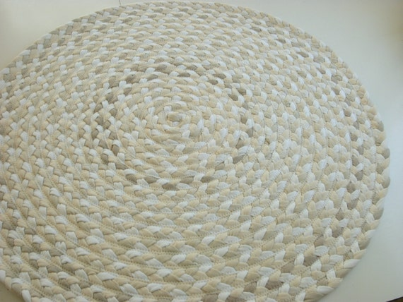 """READY TO SHIP 34"""" shades of white rug braided from New organic fabric and recycled t shirts"""
