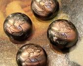 4 pcs - Lady Portrait Round Button - Antique Bronze Polyester - 22mm