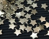 12 pcs silver plated star charms findings