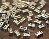 50 pcs - Antique Silver - Bone Shape 2 Parallel Holes Beads - 5mm x 8mm
