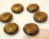 6 pcs - Brown with Yellow Paint - Crosses Patterned Clay Beads - Round - 19mm x 19mm