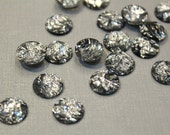 whole shop now with prices 50% off - 100 pcs - Bling Bling Shining Foil Faceted Silver Resin Cabochon , 12mm cab