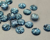 whole shop now with prices 50% off - 100 pcs - Bling Bling Shining Foil Faceted Ocean Blue Resin Cabochon , 12mm cab