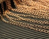 3 Feet - Antique Raw Red Brass Curb Chain - Soldered Links - 3.5mm x 5mm - CHN0747
