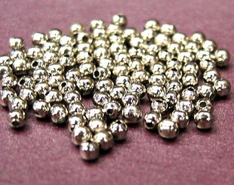 whole shop now with prices 50% off - 100 pcs Silver Plated 3mm Spacer Beads