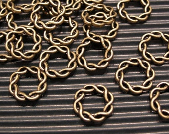 6 pcs antique bronze twisted fancy connectors - 15mm
