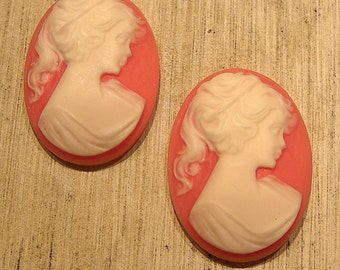 whole shop now with prices 50% off - 2 pcs Vintage Resin Pink and Ivory Lady Cameo - 22 x 30mm