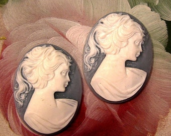 whole shop now with prices 50% off - 2 pcs Vintage Resin Soft Blue and Ivory Lady Cameo - 30x40mm