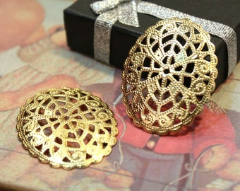 whole shop now with prices 50% off - 2 pcs - Golden Brass Filigree Connectors - Cameo Setting - 42 x 34mm