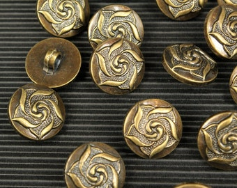 whole shop now with prices 50% off - set of 4 pcs - Rose Buttons - Antique Bronze Polyester - 18mm