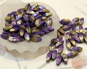 whole shop now with prices 50% off - 10 pcs - Purple Crossed with Golden Brown - Long Resin Plastic Beads - 8mm x 22mm