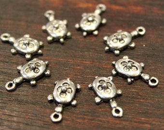 8 pcs - Antique Silver - Turtle with Floral Pattern Charm Pendant Beads - 9mm x17mm