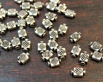 whole shop now with prices 50% off - 10 pcs - Antique Silver - Bottle Shape Diamond Patterned Beads - 6mm x 9.5mm