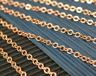 whole shop now with prices 50% off - 3 Feet - Red Brass Round Cable Chain - Soldered Links - 3.5mm x 4mm- CHN0723