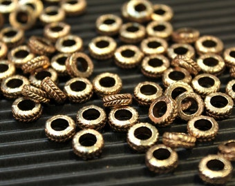 whole shop now with prices 50% off - 15 pcs - Antique Brass  - Round Flat Patterned Spacer Beads - 7mm x 3mm