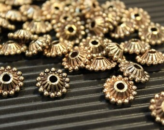 10 pcs - Antique Brass - Round Flat Patterned Crown Disc Spacer Beads - 11mm x 5mm