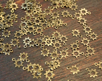 100 pcs - antique brass - cute little star charms findings - tiny 6.5 x 8mm