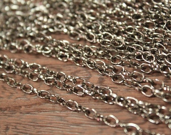 whole shop now with prices 50% off - 15 Feet - Gun Metal Plated Cross Cable Chain - 3.5 x 5.1mm - CHN0732