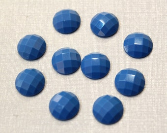 10 pcs - Shining Faceted Blue Agate Resin Cabochon, 12mm cab