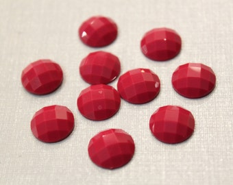 10 pcs - Shining Faceted Pink Resin Cabochon, 12mm cab