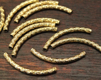 whole shop now with prices 50% off - 10 pcs - shining faceted patterned curved tube beads - antique raw brass - 35mm long