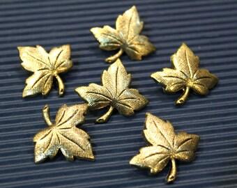 6 pcs - Vintage Antique Gold Leaf Buttons  - 30 x 28mm