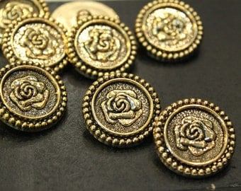 whole shop now with prices 50% off - Vintage Rose Antique Golden Buttons - 20 pcs - Polyester - 25mm