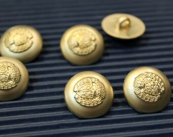 whole shop now with prices 50% off  - 6 pcs - Vintage Royal Crown Matt Gold Finish Polyester Buttons - 18mm