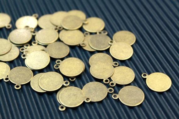 20 pcs - antique bronze disc charms/pendants setting - 12mm
