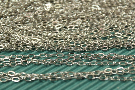 3 feet - White Gold Plating Drawn Cable Chain - 2.4 x 4.0mm - soldered links - CHN0739