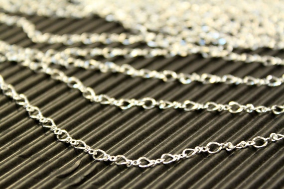 3 feet - Antique Silver Plated Mother And Son Fancy Chain - 2.5 x 4mm - soldered links - CHN0744