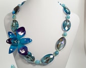 ocean blue REAL orchid, crystal and agate necklace